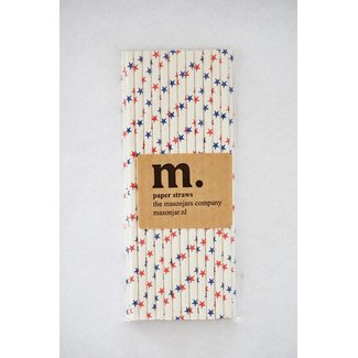 Masonjar Label 027 Paper Straws Red and Blue Stars