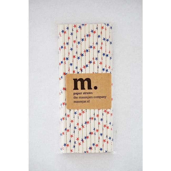 Masonjar Label 027 Papieren rietjes Red and Blue Stars