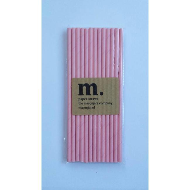 Masonjar Label 024 Papieren rietjes Plain Pink