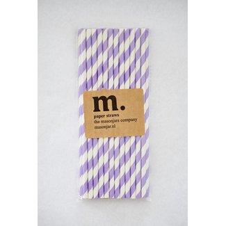 Masonjar Label 032 Paper straws Purple Stripe