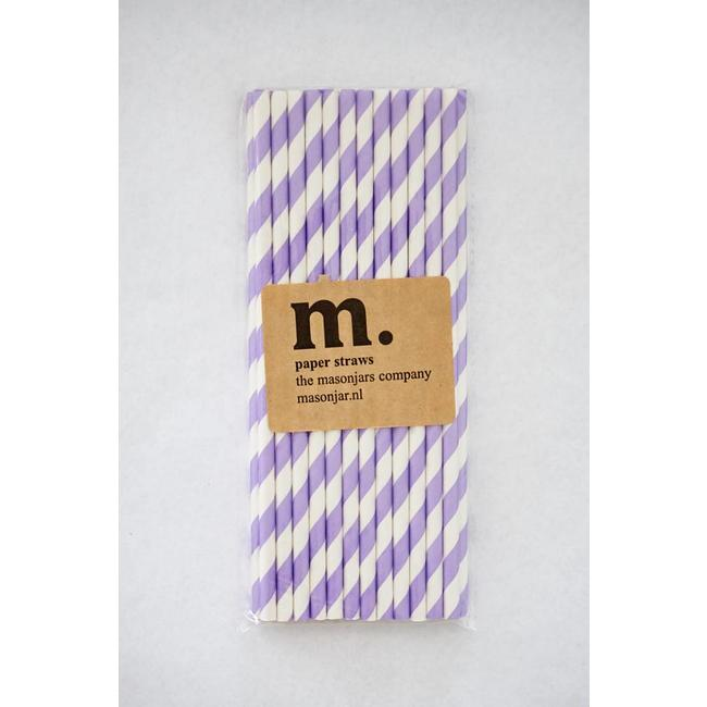 Masonjar Label 032 Paper straws Purple Stripe