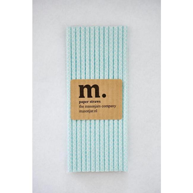 Masonjar Label 033 Papieren rietjes Quatrefoil Light Blue