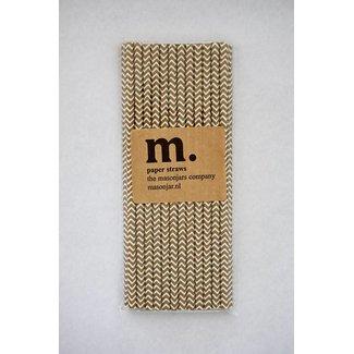 Masonjar Label 036 Paper straws Golden Chevron