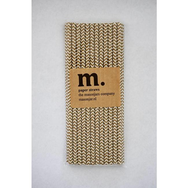 Masonjar Label 036 Paper straws Golden Chevron
