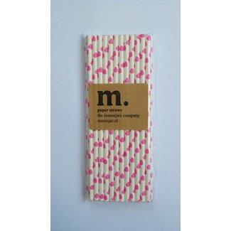 Masonjar Label 037 Paper straws PINK Heart