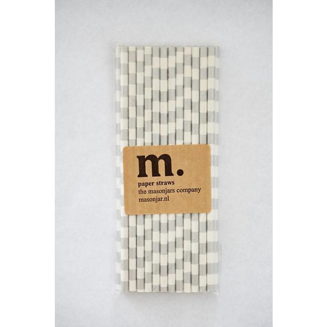 Masonjar Label 039 Paper straws Silver Stripe Horizontal