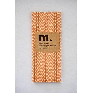 Masonjar Label 040 Paper straws Dark Orange Chevron