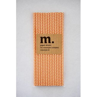 Masonjar Label 040 Papieren rietjes Dark Orange Chevron