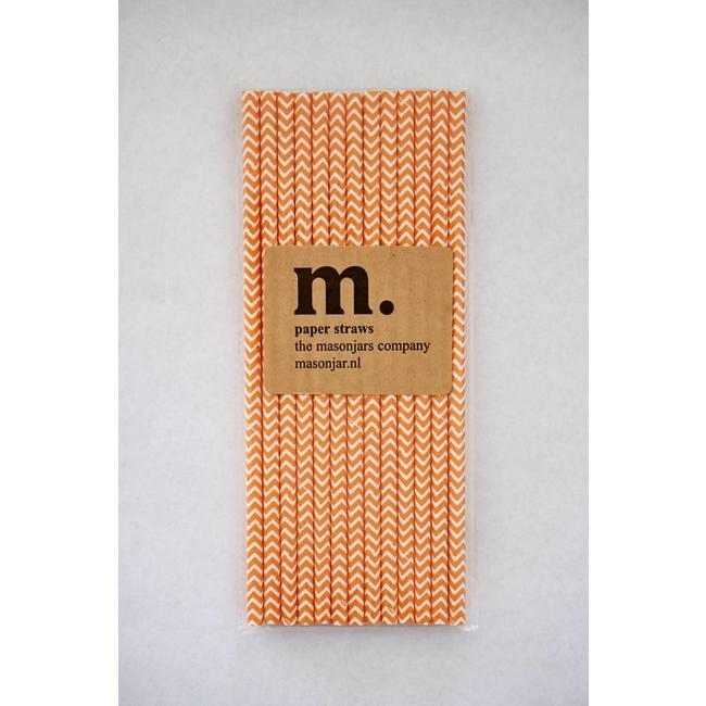 040 Paper straws Dark Orange Chevron