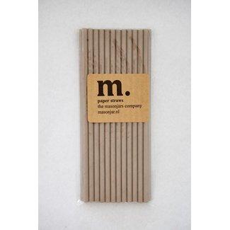 Masonjar Label 041 Papieren rietjes Plain Taupe