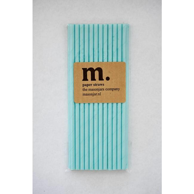 Masonjar Label 042 Papieren rietjes Plain Light Blue