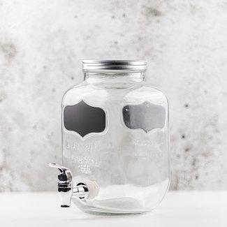 Masonjar Drinkdispenser 1 gallon met krijt sticker