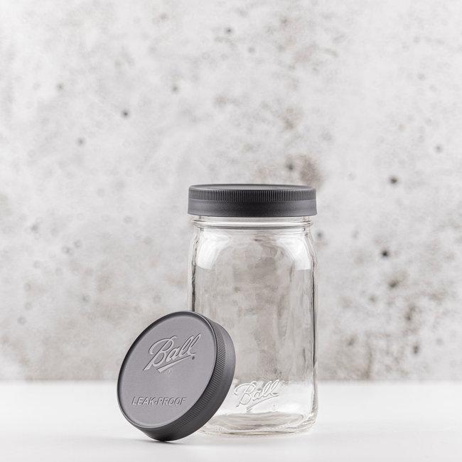 Ball Wide mouth | Leak proof storage caps | grey | 6 pcs