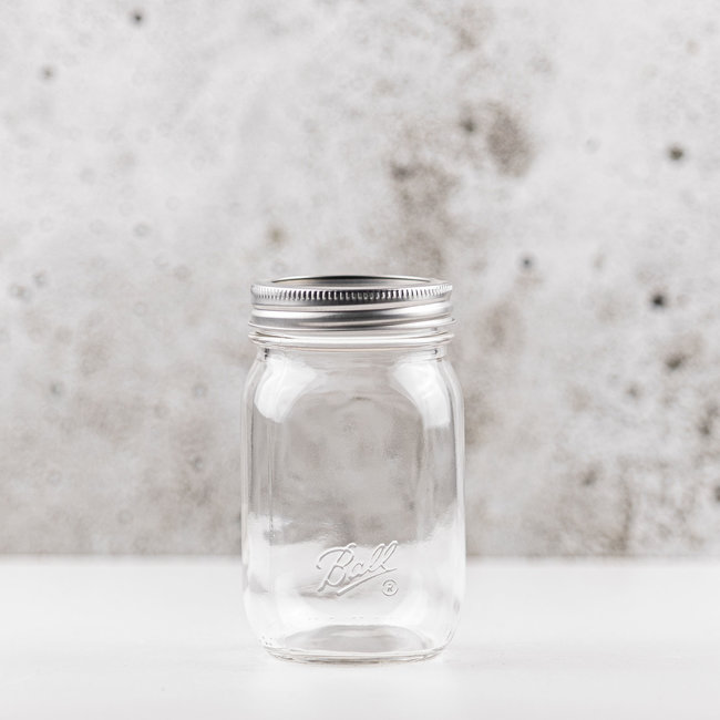 Ball smooth Sided Regular Mouth Jar with lids  (16oz) | 12 pieces
