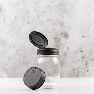 reCAP reCAP Mason Jar FLIP - Regular Mouth BLACK 1 pcs