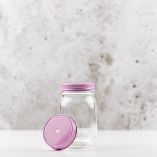 regular mouth straw-deksel pink  1 pcs