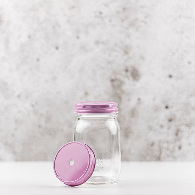 Masonjar regular mouth straw-deksel pink  1 pcs