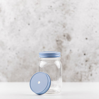Masonjar regular mouth straw-lid sky blue 1 pcs