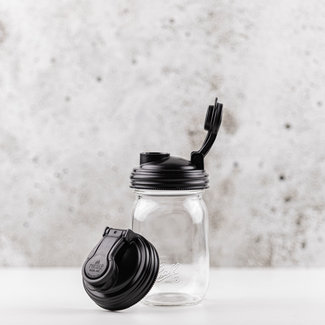 reCAP reCAP Mason Jar - Regular Mouth BLACK 1 pcs