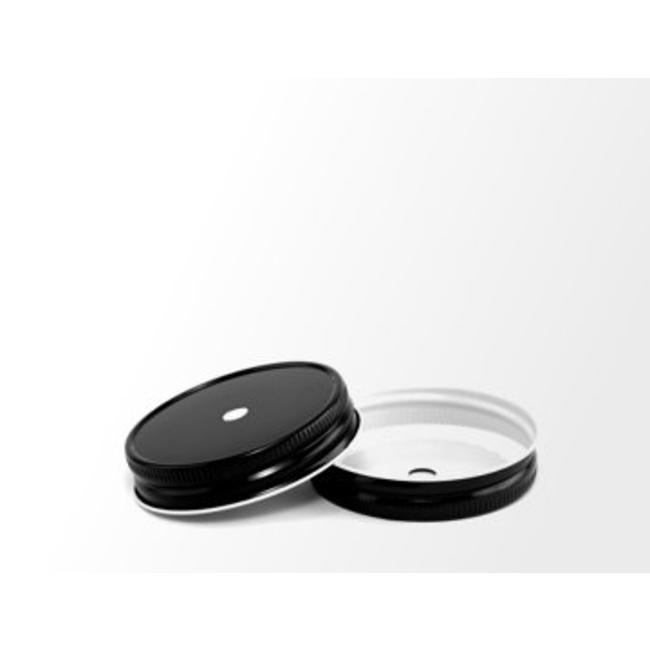 Masonjar Mason Jar regular straw hole lid black