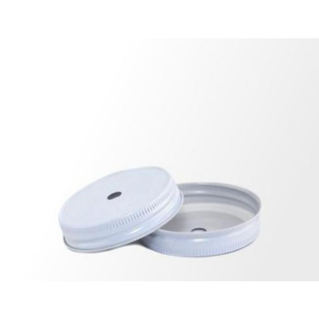 Masonjar Mason Jar regular straw hole lid white