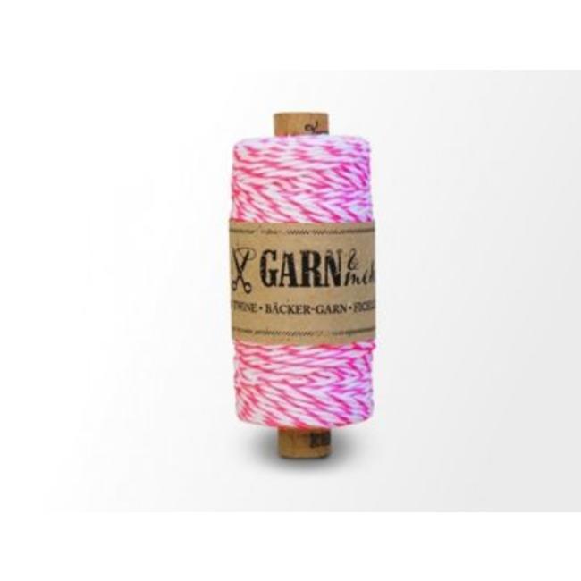 Garn Bäcker-garn Neon Pink - white