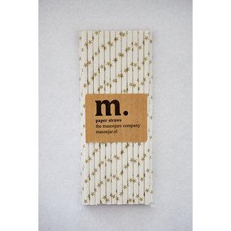Masonjar Label 012 Papieren rietjes golden strar