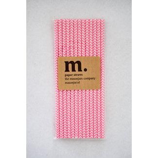 Masonjar Label 015 Papieren rietjes roze chevron