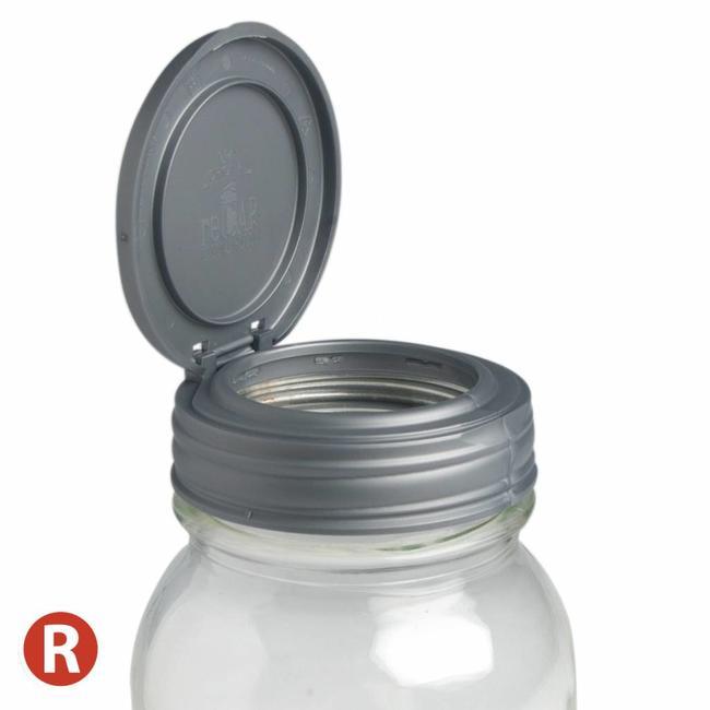reCAP reCAP Mason Jar FLIP - Regular Mouth SILVER