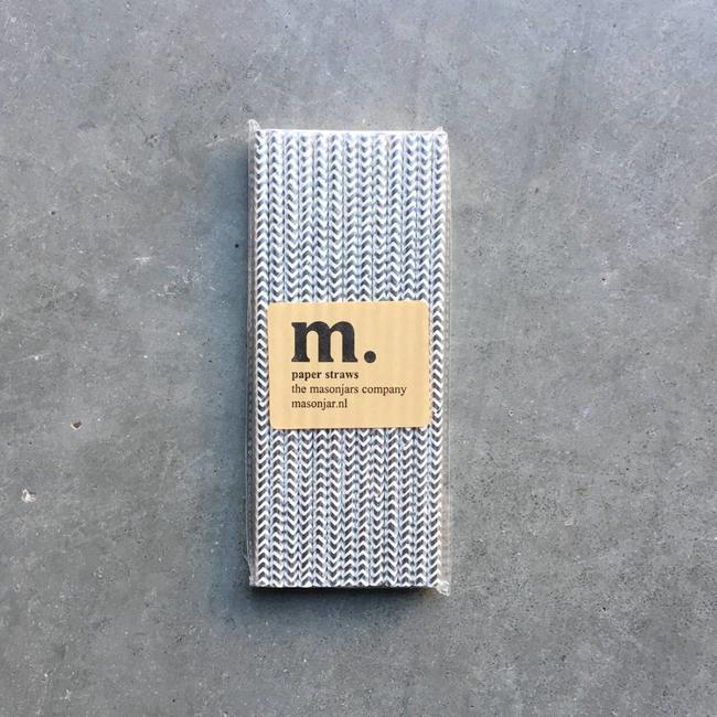 Masonjar Label 047 Papieren rietjes Silver Chevron Folie