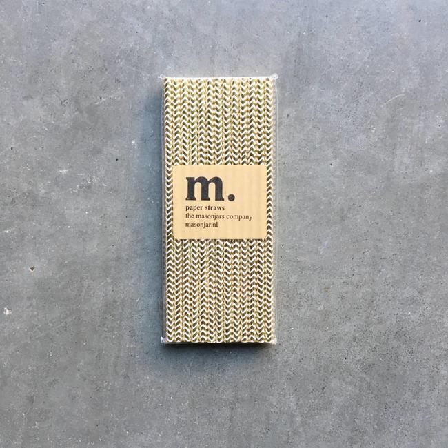 048 Paper straws Golden Chevron Folie