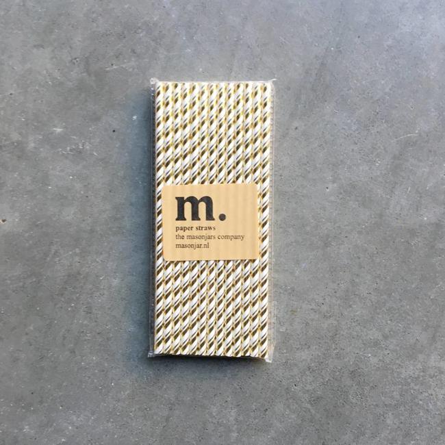 050 Papieren rietjes Golden stripe Folie