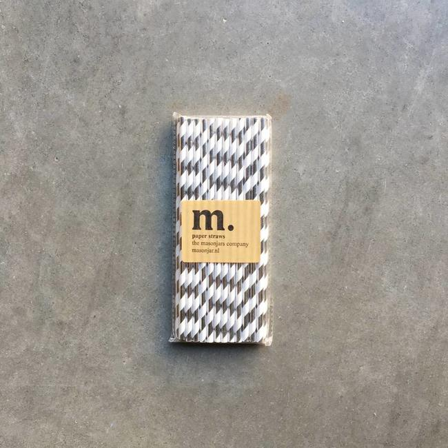 Masonjar Label 051 Papieren rietjes Silver stripe Folie