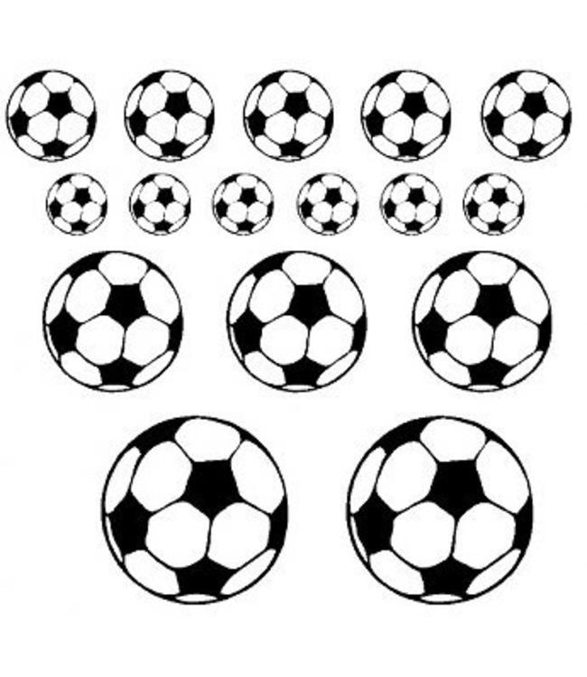 Muursticker set voetballen