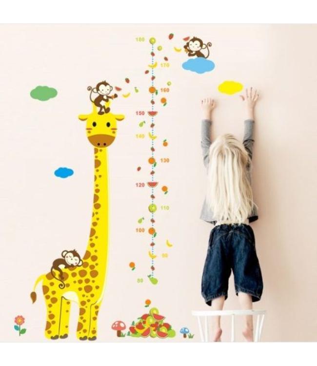 Muursticker Giraffe Kinderkamer.Muursticker Giraffe Met Aapjes Muursticker Kinderkamer