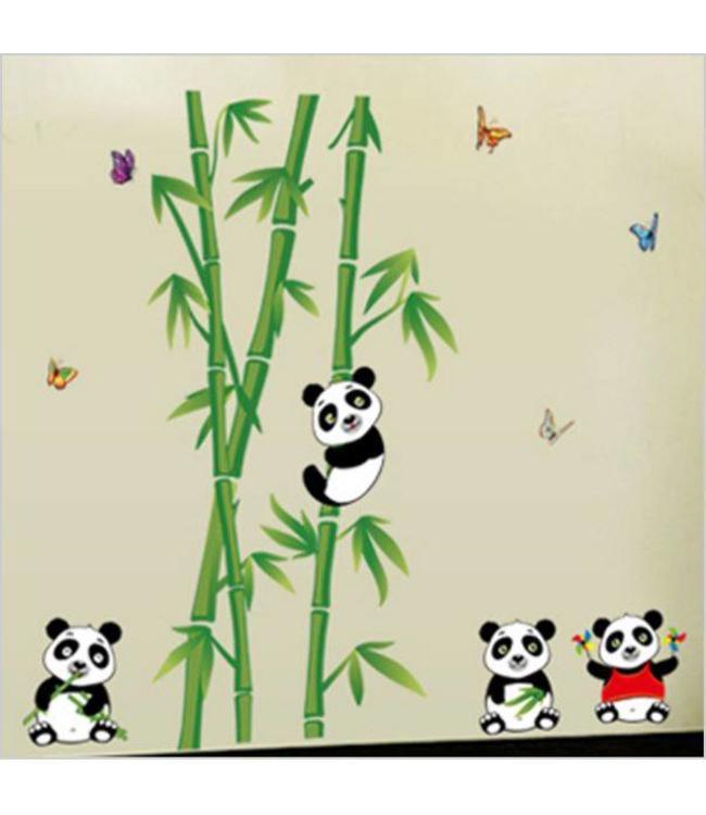 Muursticker bamboe met pandabeertjes