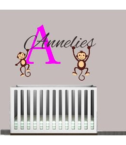 Muursticker naam met aapjes