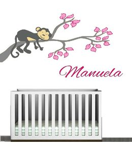 Muursticker aapje op tak met naam