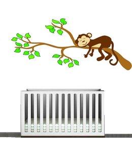 Muursticker aapje op tak