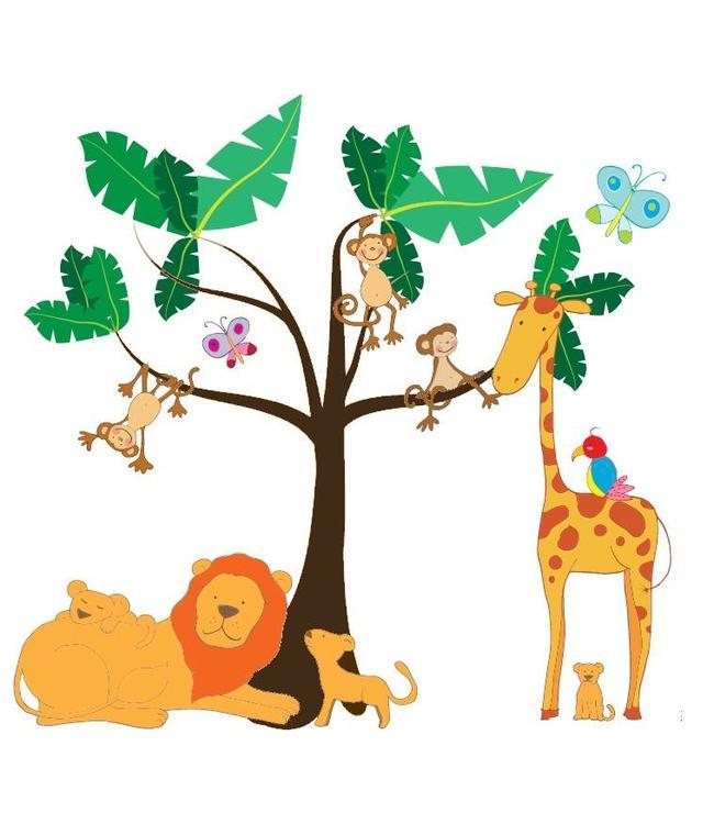 Muursticker jungle boom met dieren