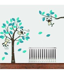 Muursticker boom met aapjes mint-teal met bruine stam