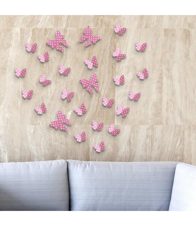 3D vlinders roze met stippen
