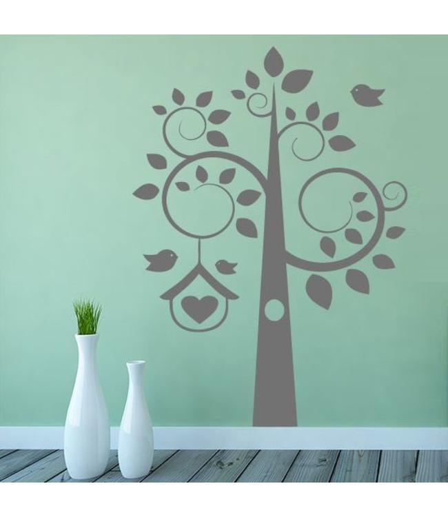 Muursticker boom met krullen en vogehuisje