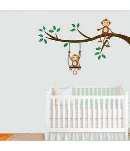 Muursticker aapjes op tak met schommel