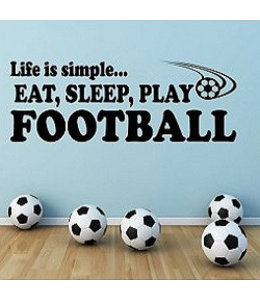 Muursticker eat sleep play football