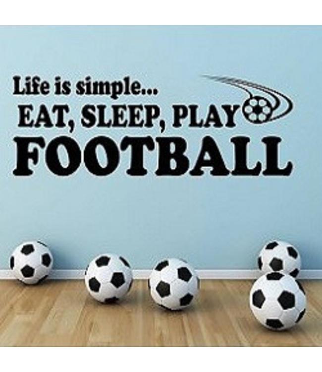 Muursticker eat sleep play football
