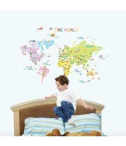 Muursticker wereldkaart kinderen