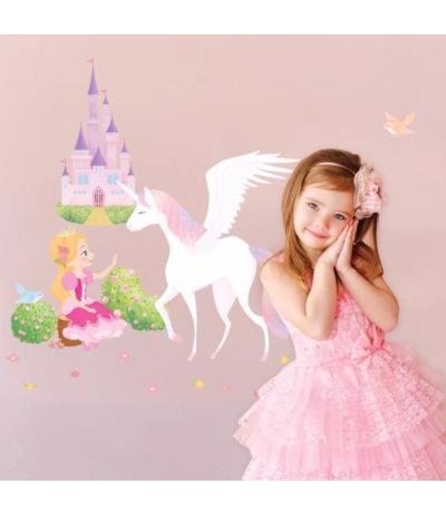 Muursticker Prinses, eenhoorn en kasteel