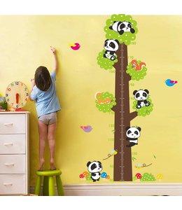 Muursticker groeimeter boom met pandabeertjes