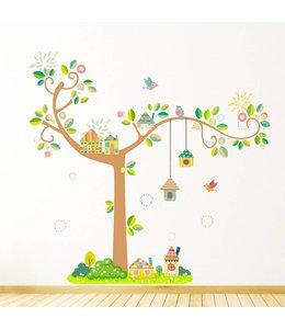 Muursticker boom met vogelhuisjes